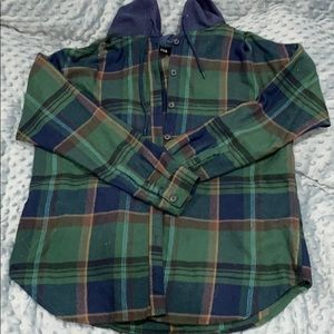 Hooded Urban Outfitter Flannel Shirt Size Small